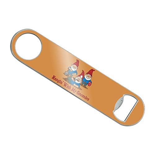 Hanging With My Gnomies Gnomes Stainless Steel Vinyl Covered Flat Bartender Speed Bar Bottle Opener