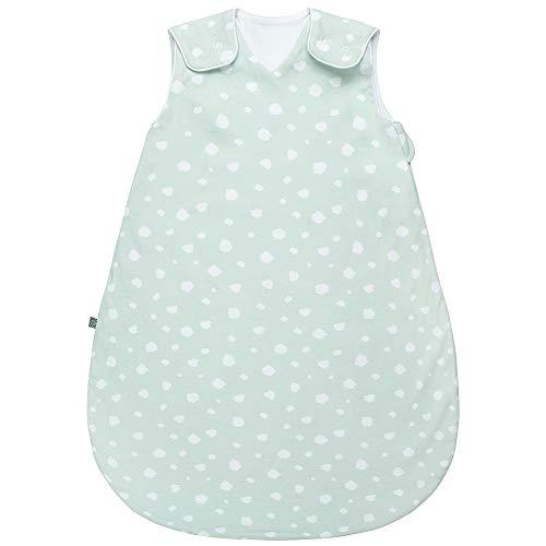 Premium Baby Schlafsack Sommer, Bequem & Atmungsaktiv, 100% Bio-Baumwolle, OEKO-TEX Zertifiziert, Flauschig Weich, Bewegungsfreiheit, 1.0 TOG von emma & noah (Punkte Mint, 60cm (56/62))