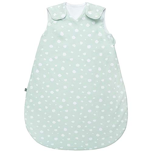 Emma & noah - Saco de dormir para bebé (verano, cómodo y transpirable, 100% algodón orgánico, certificado Öko-Tex, mullido, suave, libertad de movimiento, 1,0 tog, puntos menta, 60 cm (56/62))