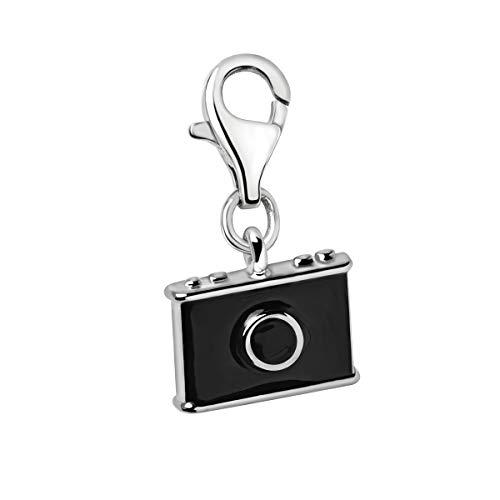 Quiges Charms Anhänger Schwarze Emaille 3D Foto Kamera Versilbert Damen Schmuck für Bettelarmband
