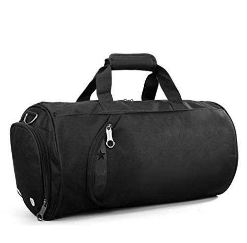Sporttas van zeildoek met zijvak voor schoenen, reistas voor dames en heren, grote capaciteit, 55 l, 50 x 25 x 26 cm, blue (zwart) - 15246