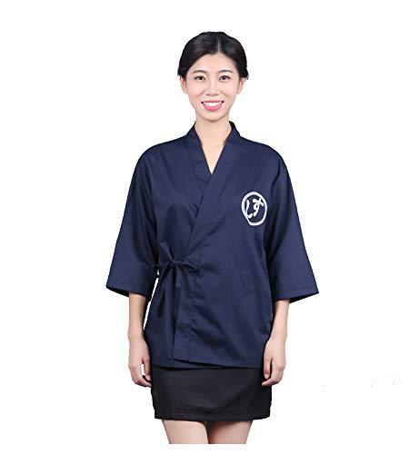 Jolie Kimono japonés Camisa de Cocinero Hombres Restaurante Camarera Uniforme Sushi Chef Coat Tops,L
