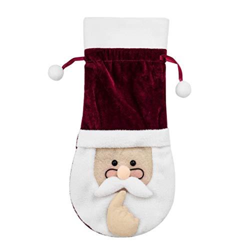 Navidad Papá Noel Copas Botella de Vino Bolsa Suministros de decoración de Mesa Rojo + Blanco