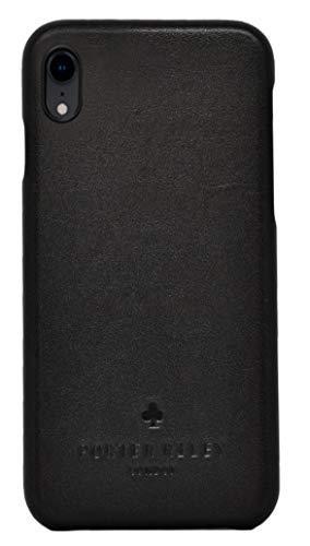 Porter Riley - Lederhülle für iPhone XR. Premium Ultra Dünn Echtleder Cover/Ledertasche/Backcover kompatibel mit iPhone XR (Schwarz)