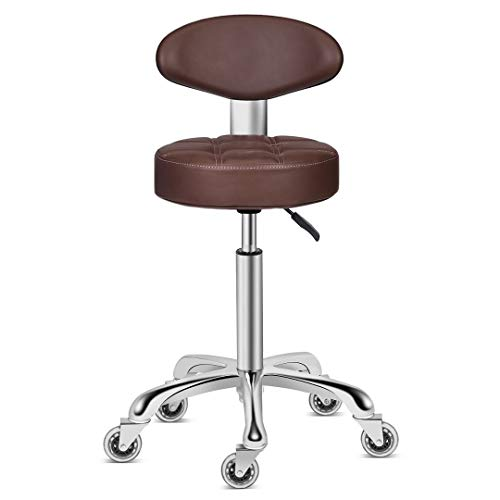 Kaleurrier Swivel Stool Chair Adjustable Height,Heavy Duty Hydraulic Rolling Metal Stool for Kitchen,Salon,Bar,Office,Massage (with Back Rest) (Coffee)