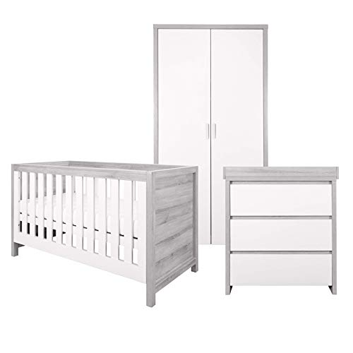 Tutti Bambini Modena Nursery Furniture Set (3 Piece) | Convertible Baby Cot Bed, Chest of Drawers Changer and Wardrobe Set | Solid Wood Furniture (Grey Ash & White)