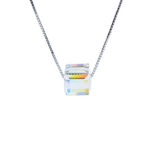 FATRWO Aurora Würfelzucker Schlüsselbein Kette, S925 Sterling Silber Collier Kette 40cm mit österreichischem Kristall, Rubik's Anhänger, weibliches Geschenk