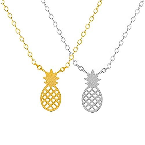 Collar con colgante de piña para mujer Bohemia Hawaiano Collar de la amistad Collares minimalistas Regalos para mejores amigos Color oro rosa