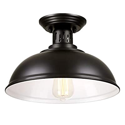 PEESIN Farmhouse Vintage Semi Flush Mount Ceiling Lighting, 12.8Inch Metal Black Close to Ceiling Light Fixture, Industrial Ceiling Lamp Rustic Style for Porch Foyer, Kitchen, Entryway, Pantry