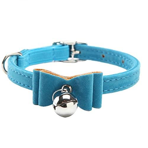 Berrywho Gato Collar De Perro Velvet Kitten Pajarita De Bowtie Elástico De Seguridad Con El Perro De Bell Collar Del Cuello Para Mascotas De Perrito Azul