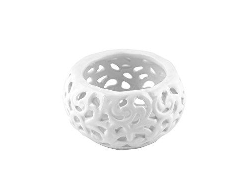 H&H Pengo kf27628 Bougeoir, 8, céramique, Blanc, 8 x 8 x 5 cm