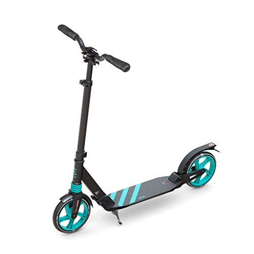 6KU Scooter for Adults/Teens, 200mm Big Wheels Kick Scooter Easy Folding Lightweight Height Adjustable Dual Suspension Shoulder Strap Rear Fender Brake,220lbs Weight Capacity (Black/Teal)