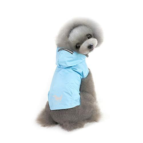 beautyhe Impermeabile Cane con Cappuccio Foro per Il Collo della Cintura Cappotto Cane Impermeabile Antistrappo Impermeabile per Cani Bello Mantella Cane 40,Blue