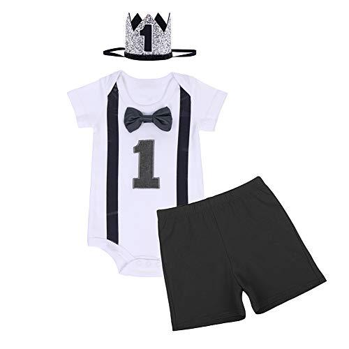 FYMNSI Conjunto de 3 piezas de ropa para bebé con manga corta + pantalones cortos + diadema de corona