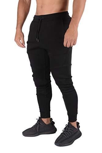 YoungLA Mens Slim Fit Joggers Sweatpants Gym Fitness Training 207 Bk M Black