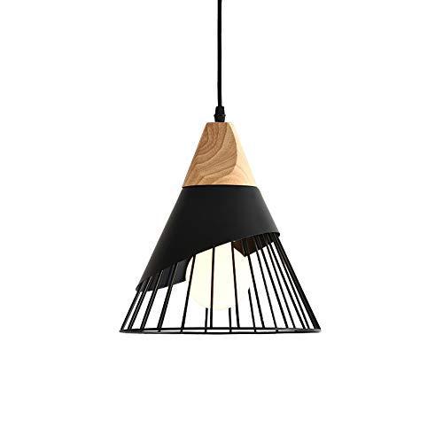 Mengjay Lampada a sospensione creativo di badminton nordico, moderno Lampadario a LED in legno massello, lampada da soffitto soggiorno sala da pranzo studio Illuminazione interna da comodino (Nero)