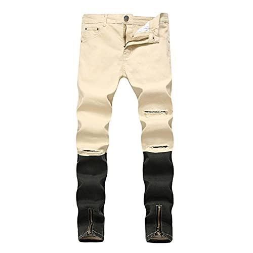Ocuhiger Pantalones Vaqueros Rectos Delgados para Hombre Pantalones De Mezclilla De Retazos Clásicos De Moda Pantalones Elásticos con Agujeros De Cremallera Rasgados En La Calle Caqui Negro