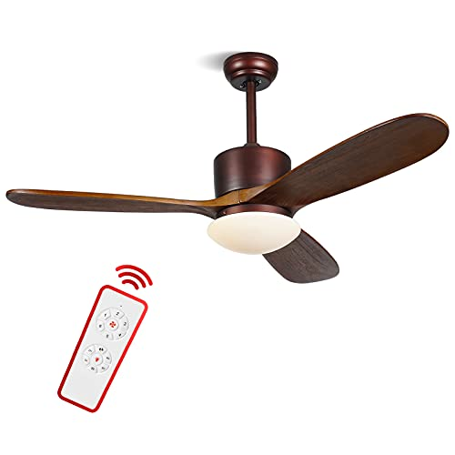 ALUOCYI 48 inch Wood Ceiling Fan with Lights and Remote, 3 Carved Wood Fan Blade Ceiling Fans,Noiseless Reversible Motor, Oil Rubbed Bronze Damp Rated for House Bedroom Living Room indoor Outdoor