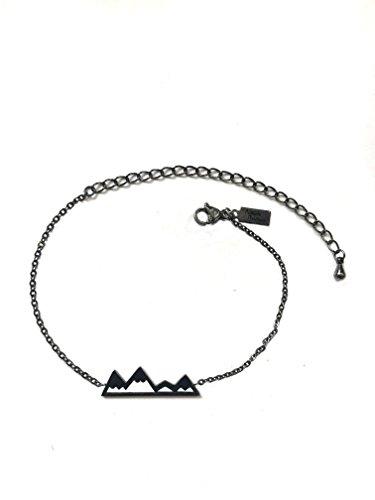 Altitude Boutique Berg Armband,Berg Schmuck,Snowy-Spitzen-Armband für Naturliebhaber,Skifahrer,Wanderer,Camper Kohlenschwarz