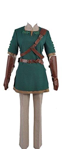 Cosplayfly The Legend of Zelda Link Cosplay Kostüm Top Jacke Hemd Hose Gürtel Handschuhe Hut für Erwachsene Collegejacke Grün