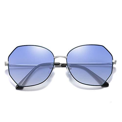 2020 nuevas señoras gafas de sol retro versión coreana ins tendencia de moda gafas de sol de protección UV fábrica al por mayor-Marco de plata azul no polarizado hoja azul