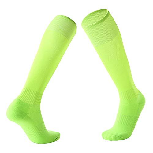Weiche Erwachsenen-Socken, sportlich, atmungsaktiv, Unisex, Wandern, Fußball, Knie, hohe Kompressionsstrümpfe, Neongrün