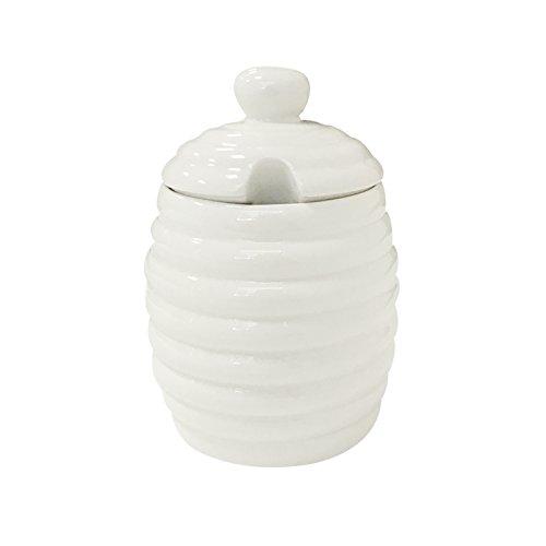 BRT Ceramic Porcelain Honey Jar With Dipper 7OZ Grey