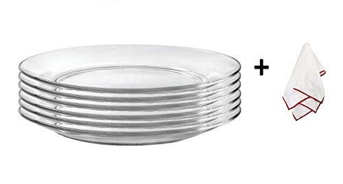 Duralex Lys Teller mit Poliertuch Dessert Plate 7.5 Inches, Set of 6 farblos