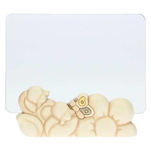 THUN - Portafoto con Fiori e Farfalla - Arredamento Casa - Linea Elegance - Ceramica, Vetro - per Foto Formato 10x15 cm - 17 h cm Altezza Totale