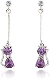 Chat Boucles d/'oreilles plaque Argent pierre Zirconium couleur Violet-motif