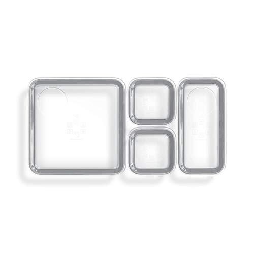 Prepd Lunchbox Modulares Frischhaltedosen-Set – 3 Größen – glasklar, auslaufsicher und lebensmittelecht grau