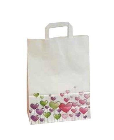 250 Papiertragetaschen Papiertüten Tragetaschen Einkaufstüten aus Papier Herzen weiß mit Herzmotiv 26+12x35cm 80g/m² - Inkl. Verpackungslizenz in D.