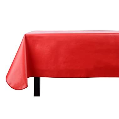 Yourtablecloth Heavy Duty Vinyl Rectangle or Square Tablecloth – 6 Gauge Heavy Duty Tablecloth – Flannel Backed – Wipeable Tablecloth with vivid colors & many sizes 52 x 70 Ruby Red