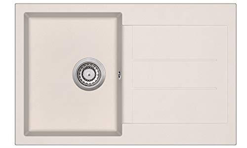 Granitspüle W780 Küchenspüle in versch. Farben Einbauspüle Granit inkl. Drehexcenter, Ab- und Überlaufgarnitur ab 45er Spülenunterschrank Made In Germany (Creme)