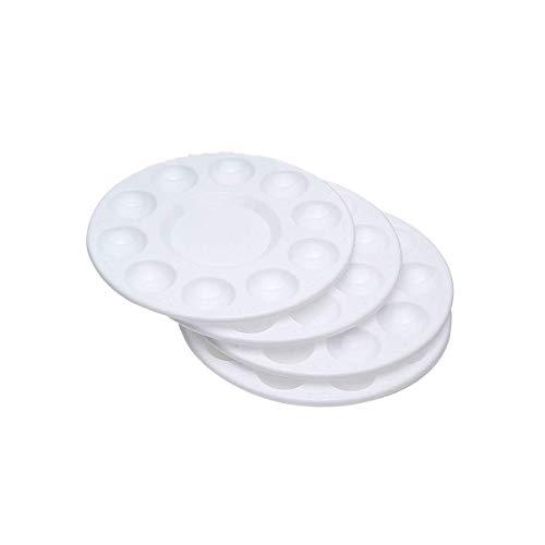 Bandeja para paleta de pintura, 4 piezas redondas de plástico para niños (blanco)