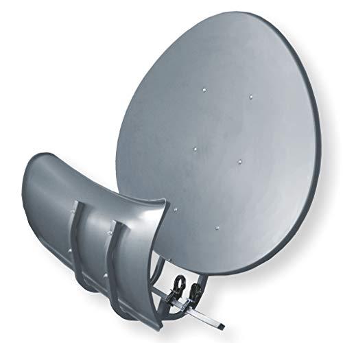 Satspiegel Toroidal (Wavefrontier) T90 P - dunkelgrau - Multifocus Antenne - inkl. 5 Stück LNB Halter - Neueste Generation