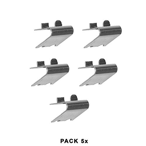 Pack 5 x Soportes Cremallera CON TOPE en Acero Inoxidable AISI-304 (1 mm) | Soporte para Baldas dentro de Armarios Frigorificos o Vitrinas Refrigerada | Ideal para Muebles de Hostelería