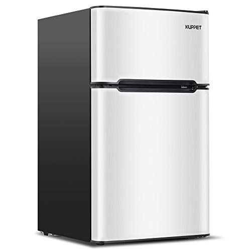 Kuppet Compact Refrigerator Mini Refrigerator for Dorm,Garage, Camper, Basement or Office, Double Door Refrigerator and Freezer, 3.2 Cu.Ft, Stainless Steel