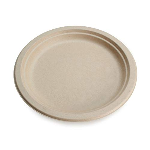 """100% Compostable Disposable Paper Plates Bulk [9"""" 50 Pack], Bamboo Plates, Eco Friendly, Biodegradable, Sturdy Large Dinner Party Plates, Heavy-Duty, Unbleached by Earth's Natural Alternative"""