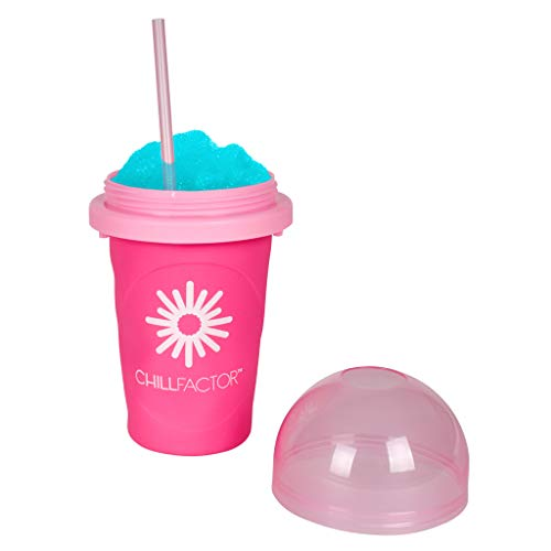 Slushy Maker Chillfactor Magic Freez | Slush Ice Becher mit Strohhalmlöffel | Eisbecher Glas Alternative für Eis selber machen | Slush Ice Maker (Himbeere)