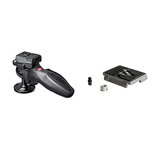 Manfrotto Light Duty Grip Ball Head Compact and Portable (324RC2) & 200PL, Quick Release Plate with 1/4 Inch Screw, Compatible with DSLR, Compact System Camera, Mirrorless
