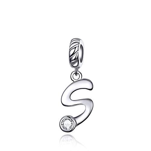 Ciondolo a forma di lettera dell'alfabeto con pietra del mese di nascita, compatibile con braccialetti e collane Pandora