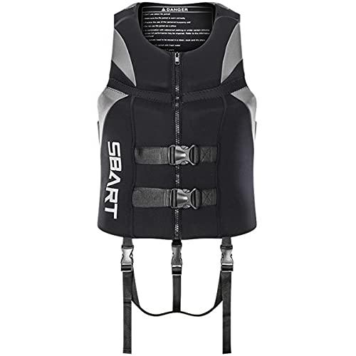 magnifier Chaleco salvavidas de natación para adultos de 40 a 100 kg, ultra portátil, unisex, para esnórquel, kayak, barco, pesca, gris, XL