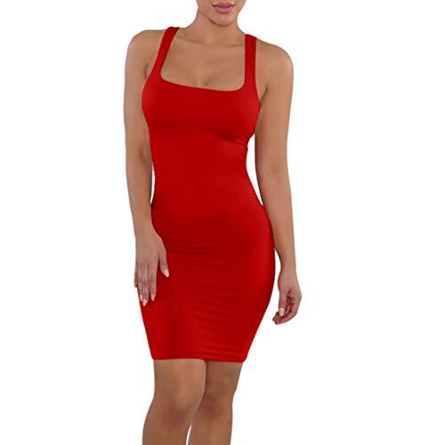 Vestido feminino colado ao corpo sexy KESYOO, vestido midi para festa, balada, básico, Vermelho, L