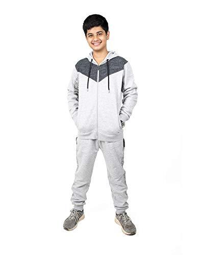 NOROZE Jungen Trainingsanzug Kontrast Kinder Voller Reißverschluss sportanzüge Loungewear Jogginganzug Sportkleidung Set (7-8 Jahre, Grau Schwarz)