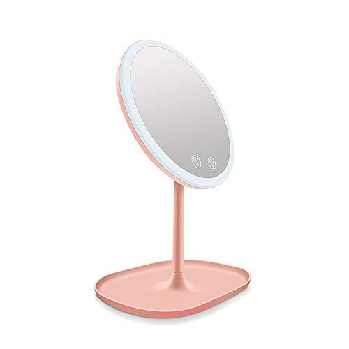 Jian E-& Le Miroir à Simple Face de Bureau a mené Le Miroir Intelligent de vanité de Stockage de Miroir léger de Maquillage de lumière avec la lumière (Couleur : Pink)