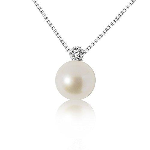 Collana con Ciondolo Oro e Diamanti Oro Bianco 9Kt 375 Diamanti 0.02Carati–Catena a maglia 42cm–Perla 6.0/6.5mm Clicca su MILLE AMORI blu e scopri tutte le nostre collezioni