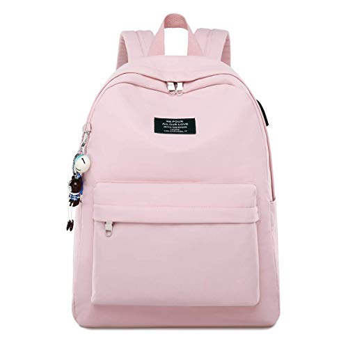 Silver Tulip Laptop Backpack College Shoulders Bags Children School Book Bags Girls Travel Canvas Backpack (Pink, Medium with USB Port)