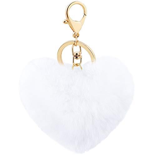 Auranso Pom Pom Keyrings Fluffy Keyring Soft Plush Heart Shape Charm Ring Keyfob Balls Bag Car Key Pendant Keychain Decoration White