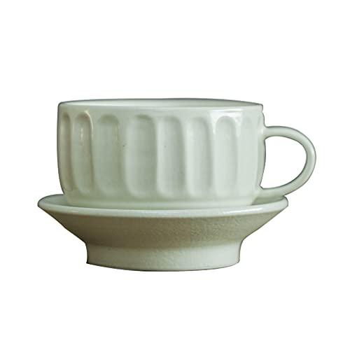 Taza de Latte Art Cerámica europea hecha a mano platillo de taza de café retro pequeña capacidad de café / taza de té columna romana gruesa verde conjunto de café verde para la fiesta de té en casa Co